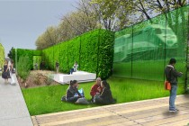 Our proposal envisions sequences of semi-enclosed rooms created by structured hedges. Safe views to the adjacent rail corridor are maintained in the gaps between sections of green wall.